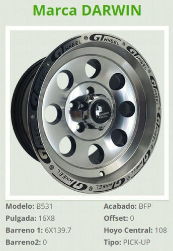 rines 16 6/139 np300 frontier hilux s10 chevrolet (4 rines)