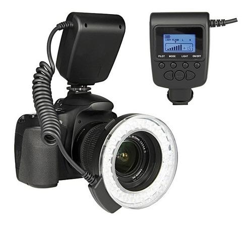 ring flash led + anillos adaptador + filtros + pantalla lcd