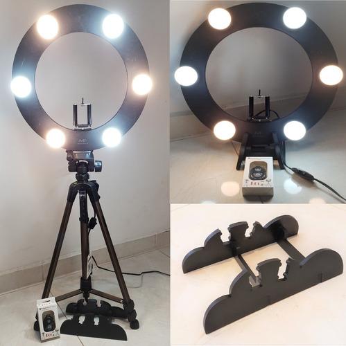 ring light 06 lampadas led 5w 2em1 + tripé + kit selfie