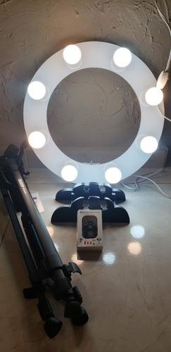 ring light 08 soquetes 2em1 tripé + kit selfie