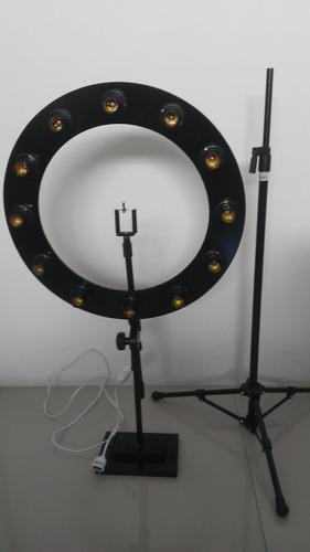 ring light 12 soquetes tripe reclinavel + suporte bancada