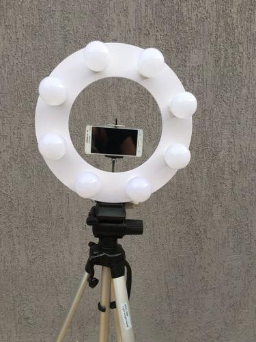 ring light 8 led 2 em 1 + tripé 1,30 + sup. + ring celular