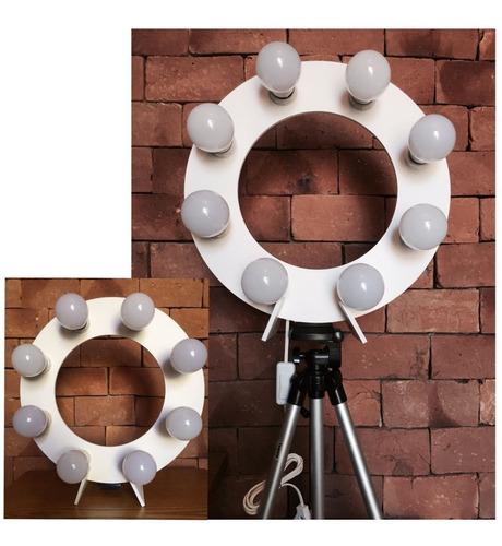 ring light 8 led 2 em 1, tripé 1,30m, suporte e ring celular