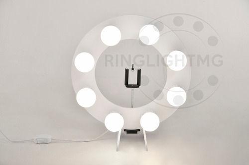 ring light 8 led 2 em 1 + tripe 1,30mts + sup cel + brinde