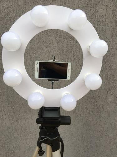 ring light branco 8 leds + tripé 1,30mts + sup + ring cel
