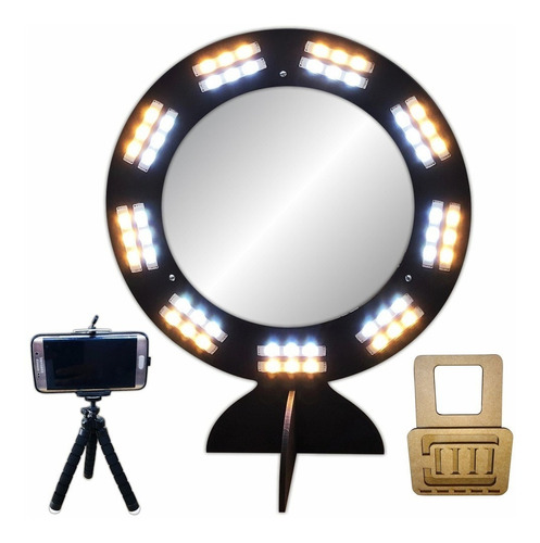 ring light com espelho removível led selfie maquiagem preto