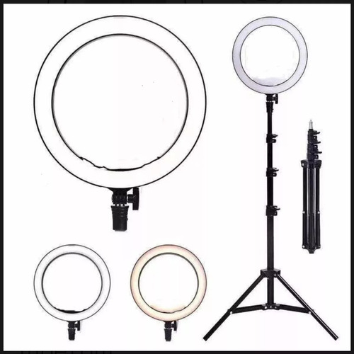 ring light completo iluminador portátil 26cm + tripé 2m top