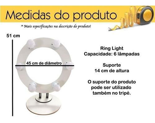 ring light em mdf 6 leds 2 em 1 + suporte 45 cm 0958 promo