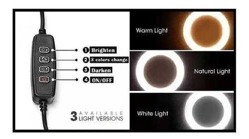 ring light led circular iluminador portátil 26cm tripé 2m