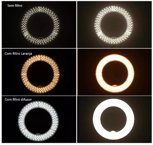 ring light led fonte+ filtros laranja+difusor rl12+ tripé 2m