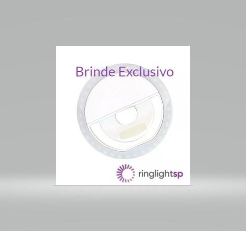 ring light preto 8 led tripe 1,30m suporte e brinde ring cel