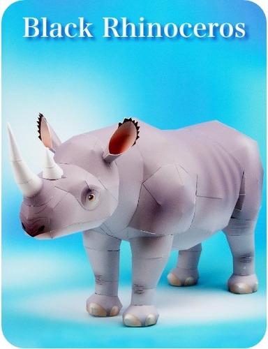 rinoceronte figura armable en papel