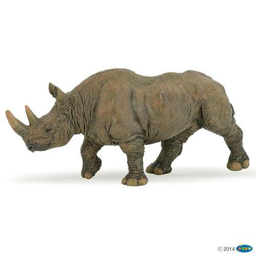 rinoceronte negro papo aniaml colección pintado a mano