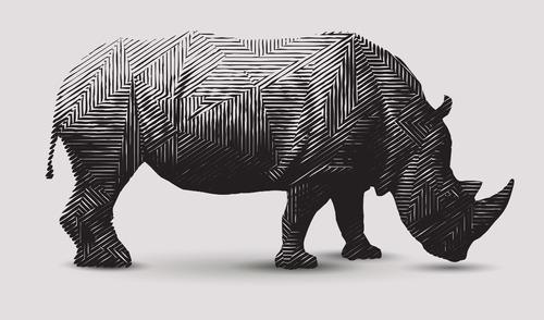 rinoceronte polígono blanco negro canvas cuadro decorativo
