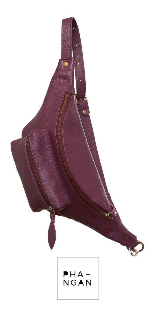 última moda el precio más bajo buscar autorización Riñonera Cartera Cuero Color Uva Phangan Bags