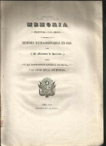 río, manuel del: memoria presentada a las cámaras. lima,1840