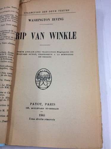 rip van winkle, washington irving, en francés y español