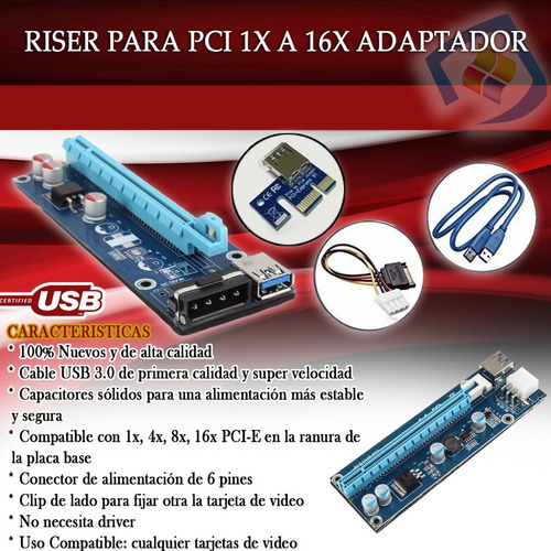 riser pci express usb 3.0 pcie x1 x16 v 006c btc eth rig