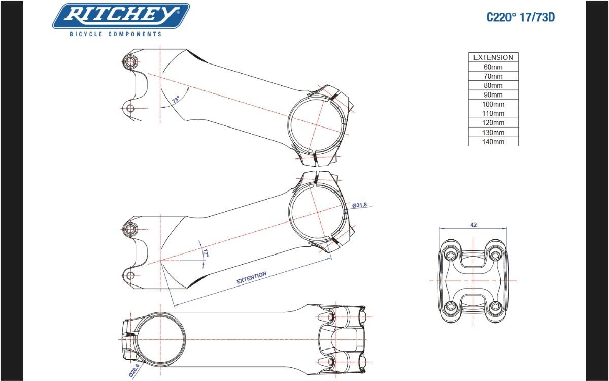 Ritchey WCS C220 73D Stem 100mm // 17 31.8 1-1//8 Blatte