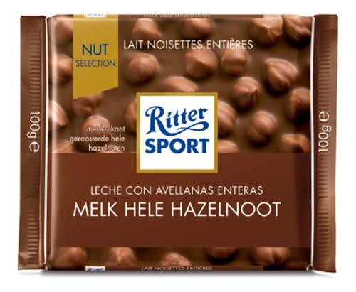ritter sport chocolate con leche con avellanas importado