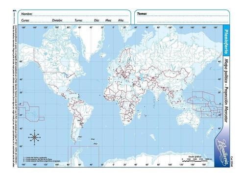 rivadavia 9033 mapa n°3 político planisferio proyección merc
