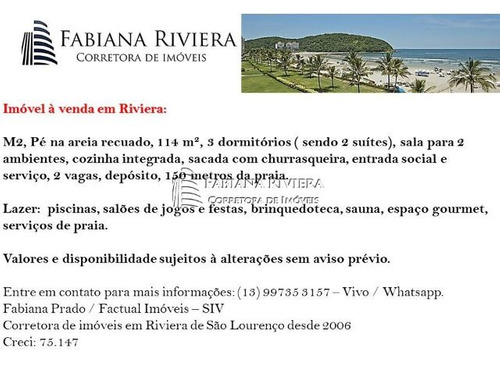 riviera - m2 - 114 m² - pé na areia -m 3 dorms(2 suítes)