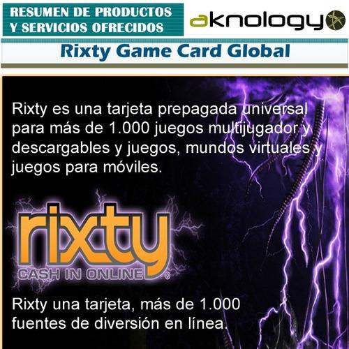rixty $20 usd game card tarjeta de juego