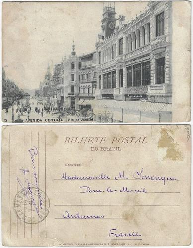 rj 1905 cartão postal av. central nº d loja modas mayrinck