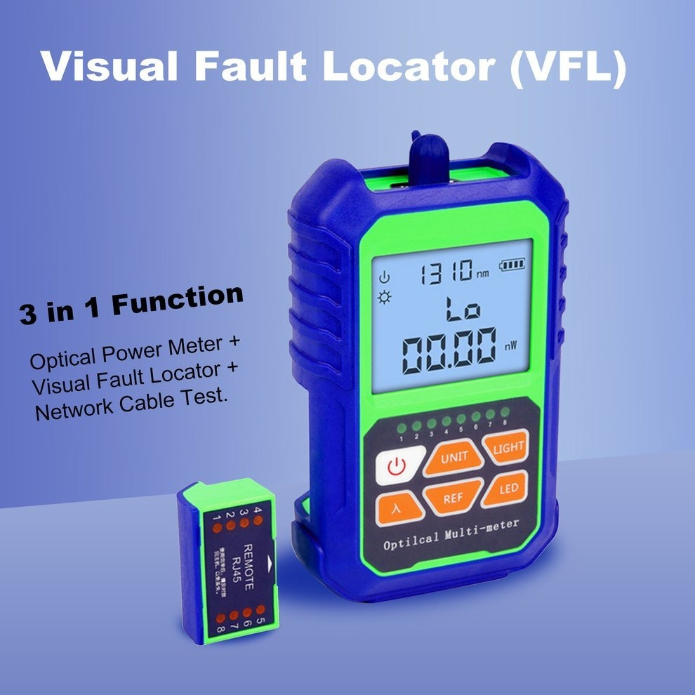 2 IN 1 Optical Power Meter  with RJ45 Optical Fiber Tester Self-Calibration Netw