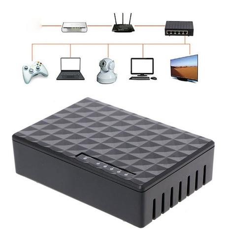 rj45 mini 5-puertos fast ethernet red negro switch hub para