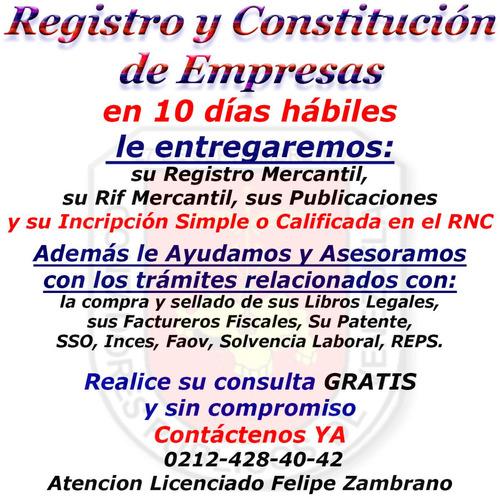 rnc registro mercantil constitucion compañia empresa express