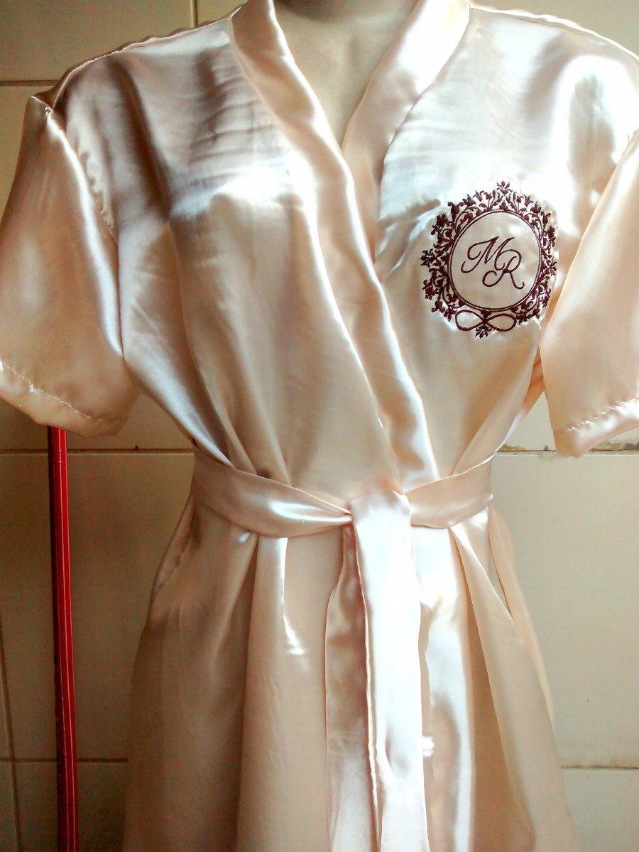 f8cc38fd1 Robe De Cetim Bordado Personalizado - Noiva - Madrinha - Mãe - R  65 ...