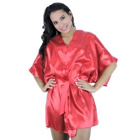 ba9d916191a277 Robe Em Cetim Preto Ou Vermelho - Roupão Feminino Adulto