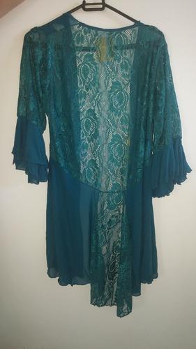 robe em tule lycra fashion e rendão com manga