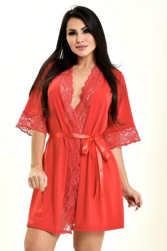 robe hobby roupão feminino com renda sexy luxo