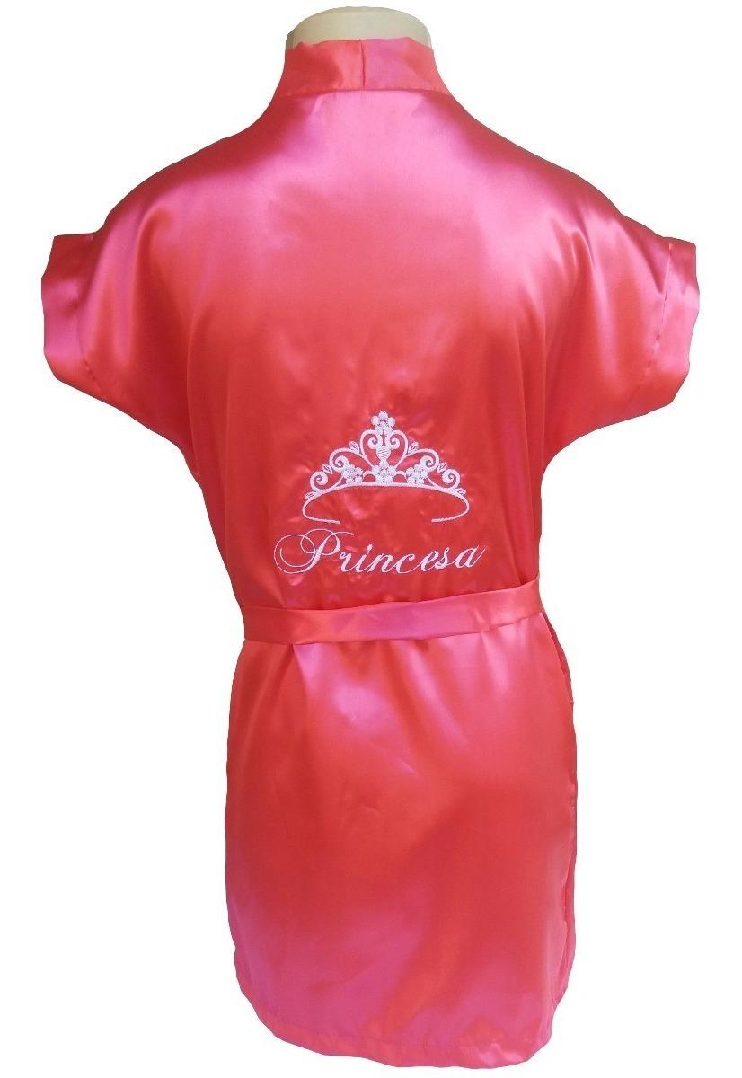 ee3ca5cf66e9bd Robe Infantil Cetim Roupão Bordado Personalizado Coroa Nome