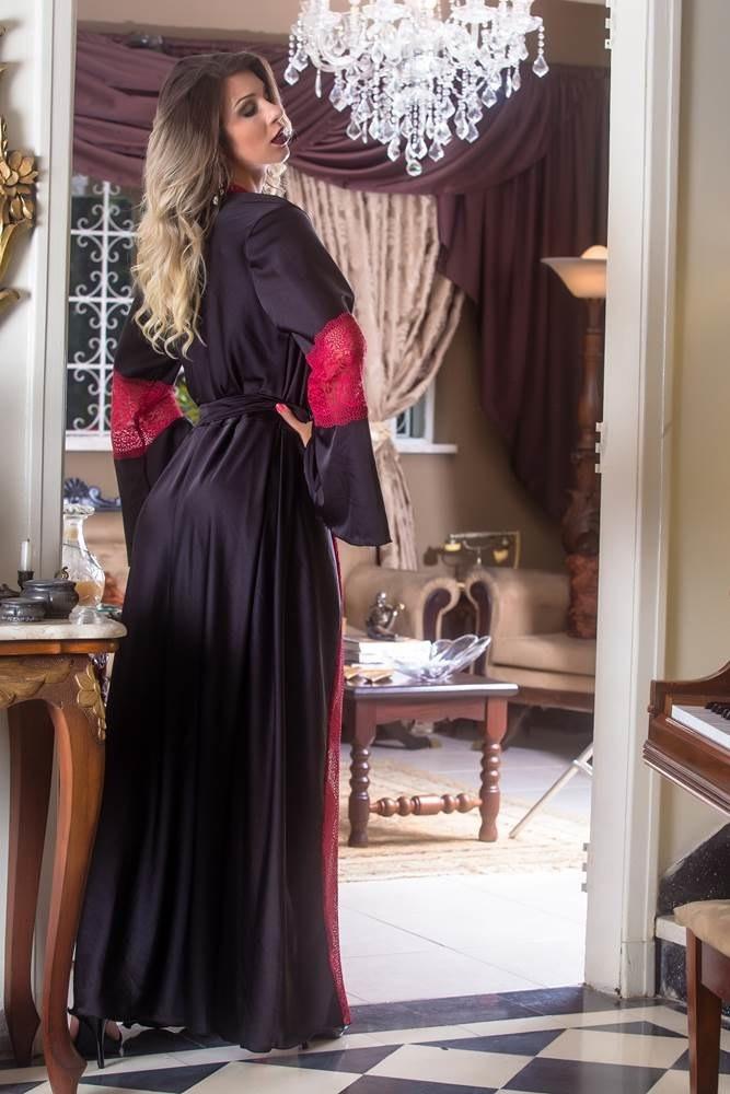 790a04c372f4ea Robe Longo Em Cetim Seda Renda Roby Camisola Luxuosa