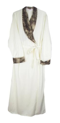 robe roupão feminino moletinho onça moletom longo