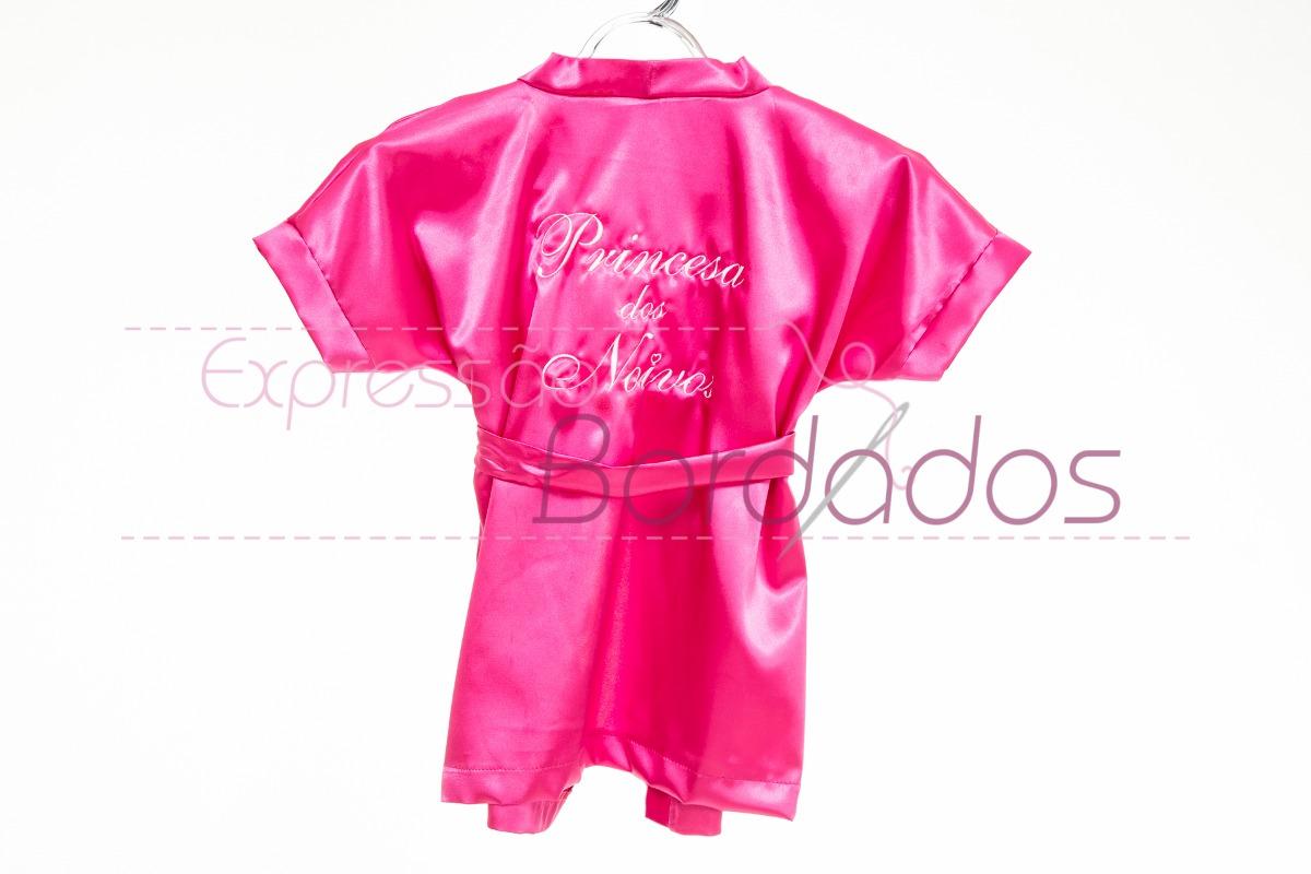 3eaf4b425 robe roupão infantil noivinha casamento cetim seda bordado. Carregando zoom.
