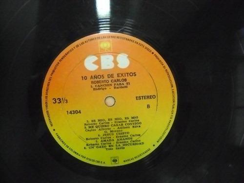 roberto carlos diez anos de exito vinyl lp hecho en colombia
