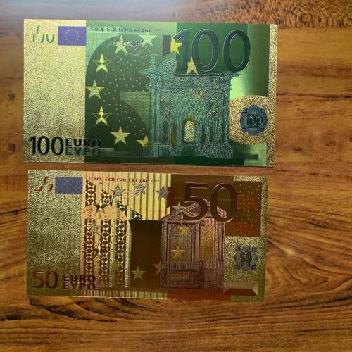 robmar-euro-5 billetes plásticos bañados en oro 24 k. elegir