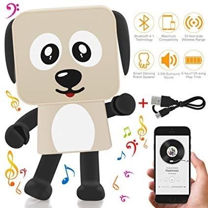 robo caixa de som bluetooth dancing dog usb radio portatil dancante atende chamadas universal