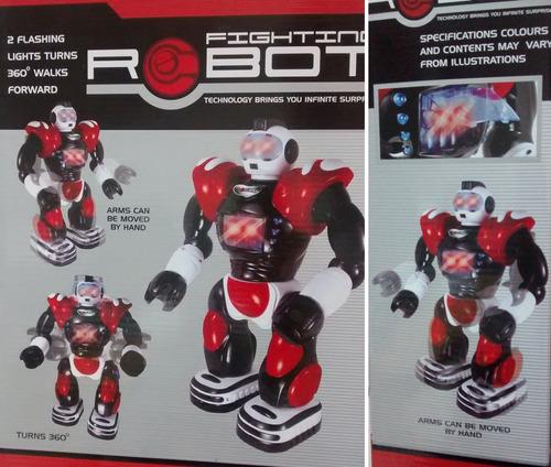 robot camina, gira, luz y sonido 35 cm alto! calidad  jiujim