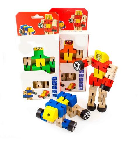 robot de madera con elástico transformer varios colores 15cm