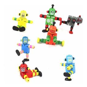 Robot Madera Articulación Didáctico Souvenir Regalo Infantil