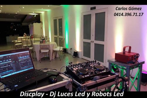 robot led luces led dj sonido discplay festejo fuego frio
