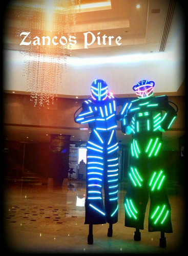 robot led zancos co2 transformer fuego frio iron man led