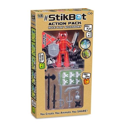 robot stikbot muñeco con accesorios app paquete de accion