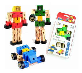 Transformer Infantil Juego Robot Articulado Madera Motricida trhQsdC