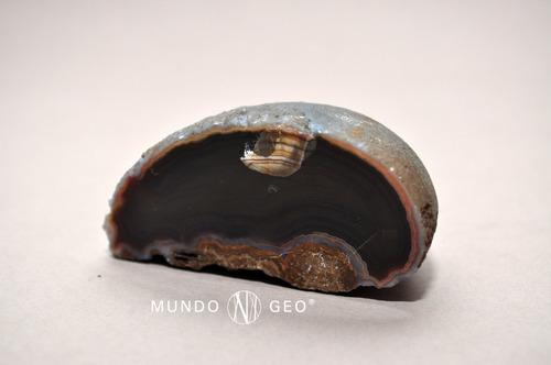 roca nódulo de ágata bandeada concéntrica mediana pulida